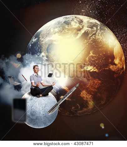 Businesswoman sitting in lotus flower position against space background with office stuff aloft