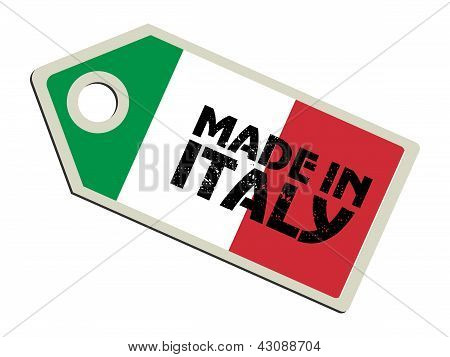 label with flag of Italy