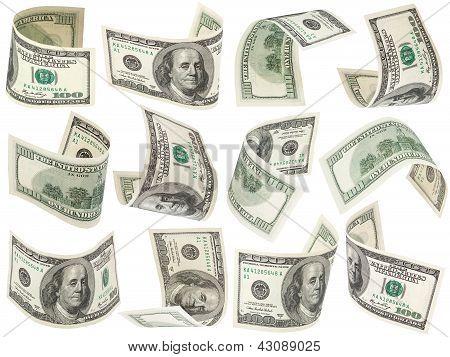 Set Of Flying 100 Dollars Bank notes