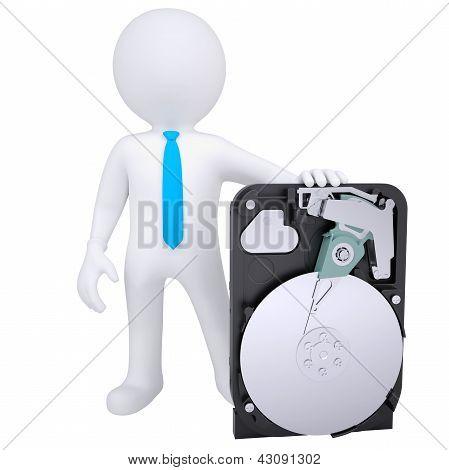3d white man holding a hard drive