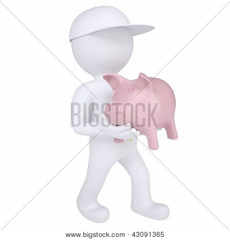 3d white man holding a piggy bank