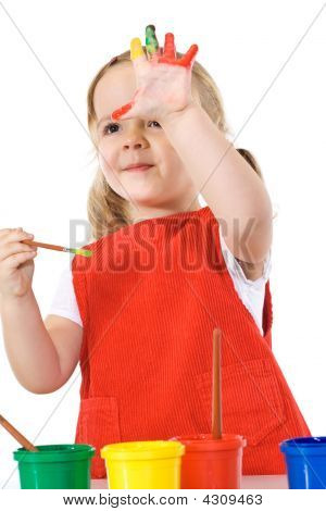 Happy Little Painter Girl Waving Isolated