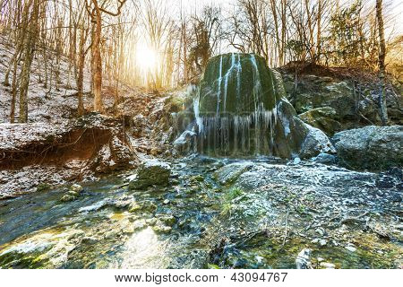 Waterfall in spring forest