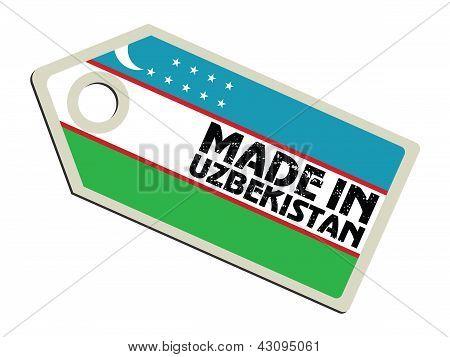 label with flag of Uzbekistan