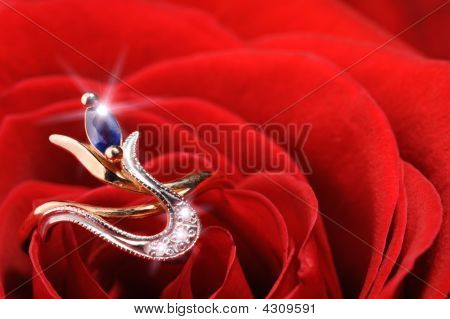 Sparkle Ring In A Red Rose