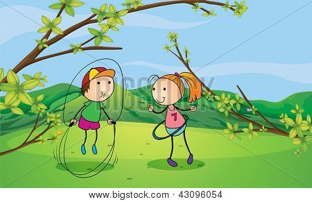 Illustration of a boy and a girl playing in the hills