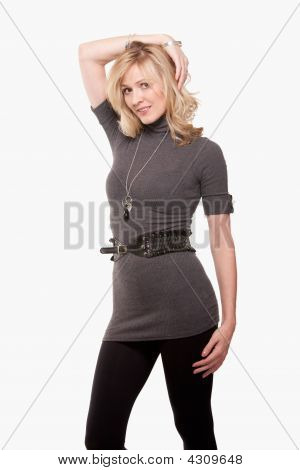 Woman In Grey Sweater