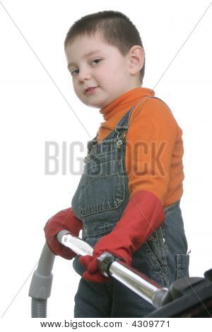 Funny Boy With Vacuum Cleaner Hose