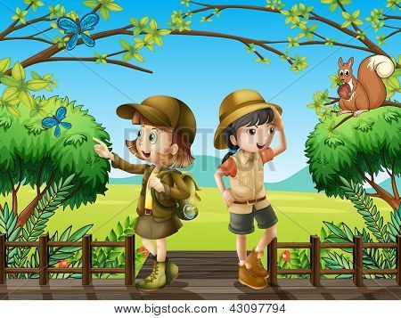 Illustration of a girl and a boy at the wooden bridge