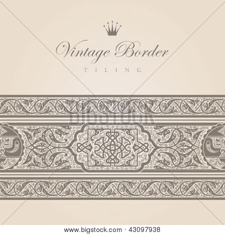 Vintage border tiling collection.  Vector abstract Floral ornament. Super High detail Vector.