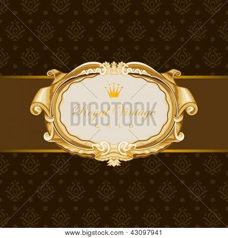 Vintage Gold Frame on the seamless pattern behind.  Retro Floral ornament.  Super High Detail Vector. Copyspace.