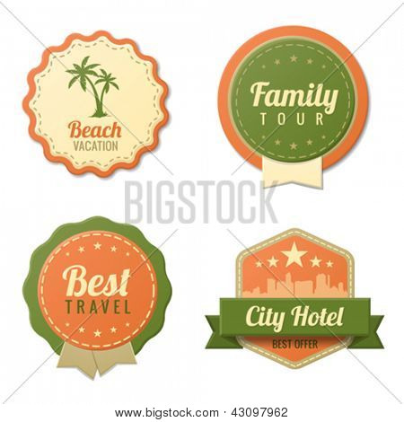 Travel Vintage Labels template collection.  Tourism Stickers Retro style. Beach, Family tour, City Hotel badge icons. Vector. Editable.