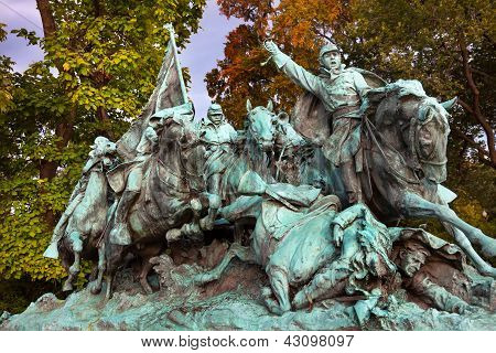 Union Calvary Horses Charging Us Grant Statue Memorial Capitol Hill Washington Dc