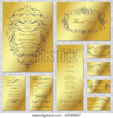 Vector Gold Wedding Frame Set