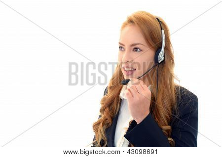 Woman with a handset