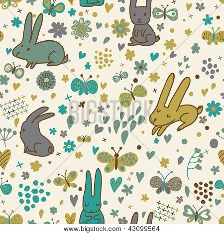 Cute small rabbits. Cartoon seamless pattern in vector