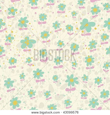 Spring seamless pattern. Light floral background in pastel colors