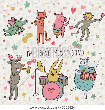 The best music band. Cartoon animals playing on various musical instruments - drums, accordion, flute, trumpet in vector