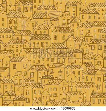 City view. Vector seamless pattern for cute urban wallpapers