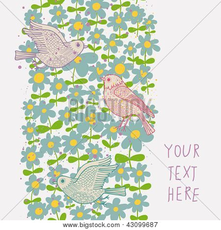Spring seamless pattern in pastel colors. Birds in flowers vector background