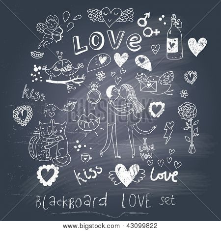 Blackboard romantic set in vector. Cartoon love symbols in vintage style