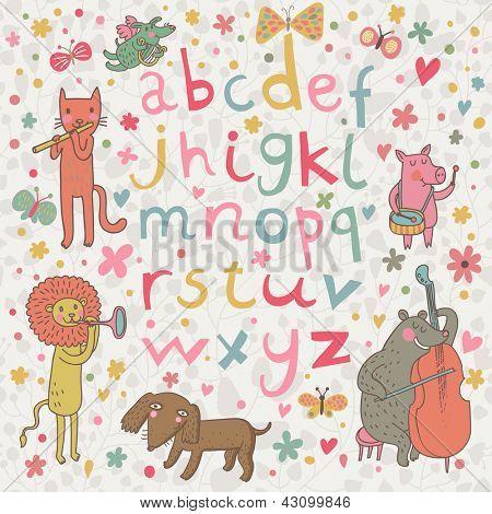 Alfabeto infantil de dibujos animados con animales en estilo divertido. Ilustración de dibujos animados graciosos en vector con todos