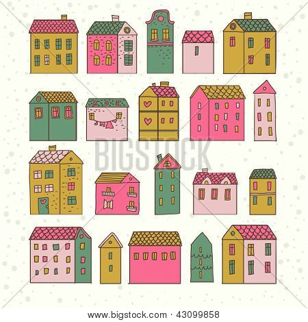 Bright cartoon town. Cute vintage houses in vector. Urban collection