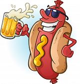 stock photo of bbq party  - A hot dog character in sunglasses - JPG