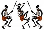 stock photo of negro  - africans with spears on a white background - JPG