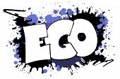 picture of wacky  - The word EGO as a grungy colorfully painting - JPG