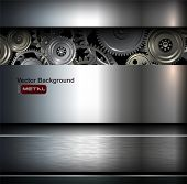 picture of robot  - Background metallic with technology gears - JPG