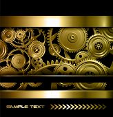 stock photo of cogwheel  - Technology background gold metallic gears and golden cogwheels - JPG
