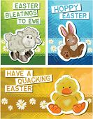 Set of 3 Cute Easter Greeting Cards. Simply print off and cut out to make your own unique fun cards