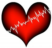 stock photo of broken heart  - red plastic heart with a jagged white line - JPG