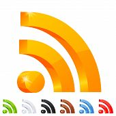 Set of 7 RSS icon in different colors.