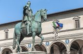 stock photo of duke  - Statue of Ferdinando I de Medici Grand Duke of Tuscany located in the Piazza della Santissima Annunziata in Florence Italy - JPG