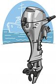 foto of outboard engine  - new modern outboard boat motor ready for sailing - JPG