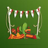 picture of pinata  - mexican party decoration with flag bunting and objects with space for text eps 10 file with transparencies - JPG