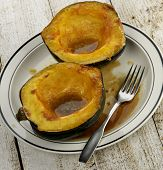 stock photo of acorn  - Acorn Squash Cooked With Brown Sugar And Butter - JPG