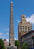stock photo of asheville  - View of historic buildings in downtown Asheville North Carolina - JPG