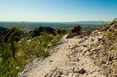 image of piestewa  - Trail Leading over a Sharp Cliff Looking out to Phoenix Arizona - JPG