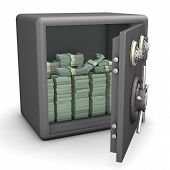 pic of bank vault  - Opened safe with euro notes - JPG