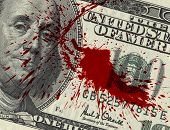 stock photo of million-dollar  - Fragment of 100 dollar bill with blood spots - JPG