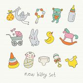 stock photo of baby doll  - Cute cartoon baby set - JPG