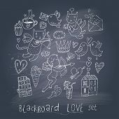 image of nipples  - Romantic cartoon symbols on chalk board in EPS10 vector - JPG
