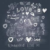 stock photo of cupid  - Blackboard romantic set in vector - JPG