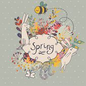 picture of bee cartoon  - Spring concept background - JPG