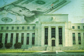 stock photo of superimpose  - The Federal Reserve building in Washington DC superimposed on a twenty dollar bill and a grunge texture background - JPG