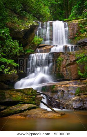 Motion Blur Waterfalls Nature Landscape In Blue Ridge Mountains
