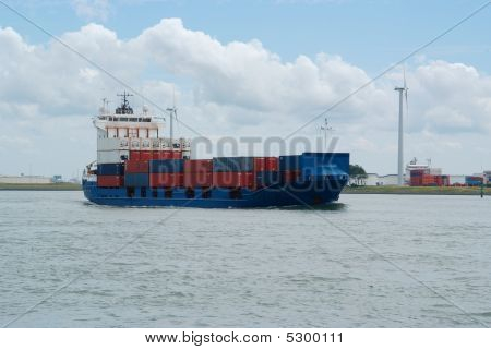 Fully Loaded Container Ship